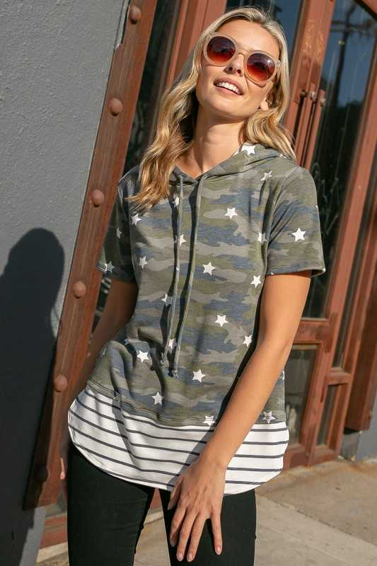 FRENCH TERRY CAMOUFLAGE STRIPE MIXED HOODIE TOP