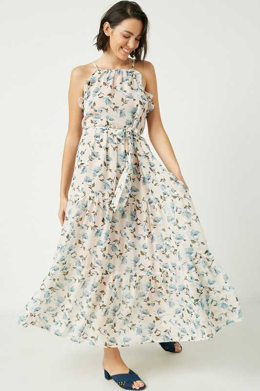 Womens Romantic Floral Sleeveless Maxi Dress