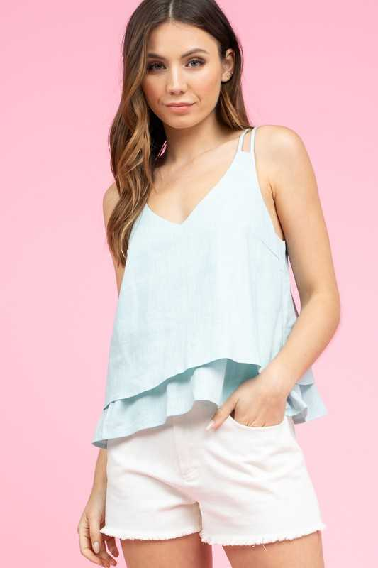 SLEEVELESS DOUBLE LAYERED TOP