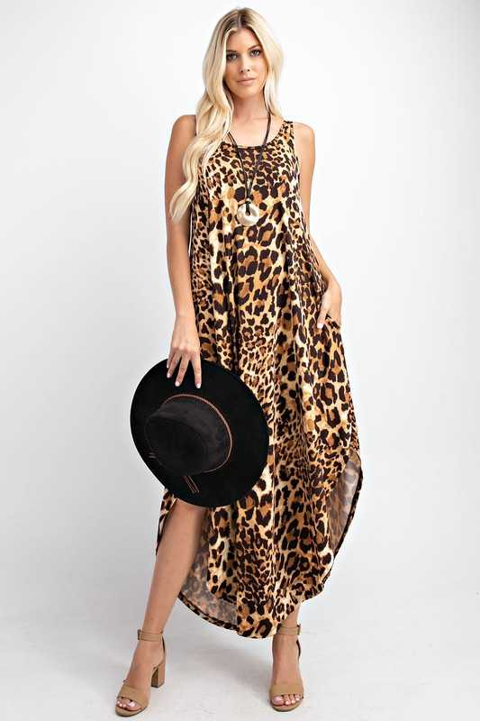 Sleeveless Animal Printed Maxi Dress