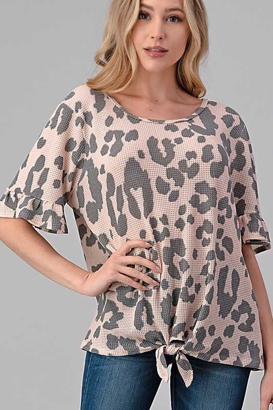 ANIMAL PRINT RUFFLE SLEEVE TIE HEM TOP