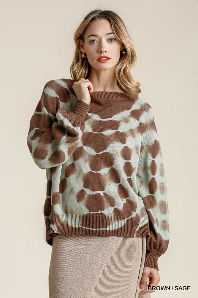 Tie Dye Round Neck Pullover Sweater