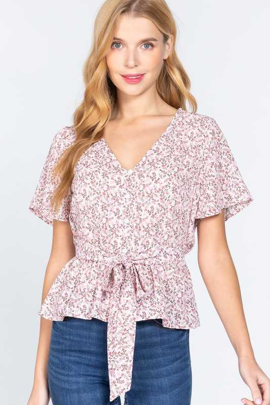BUTTON DOWN FLOUNCE HEM BELTED PRINTED WOVEN TOP