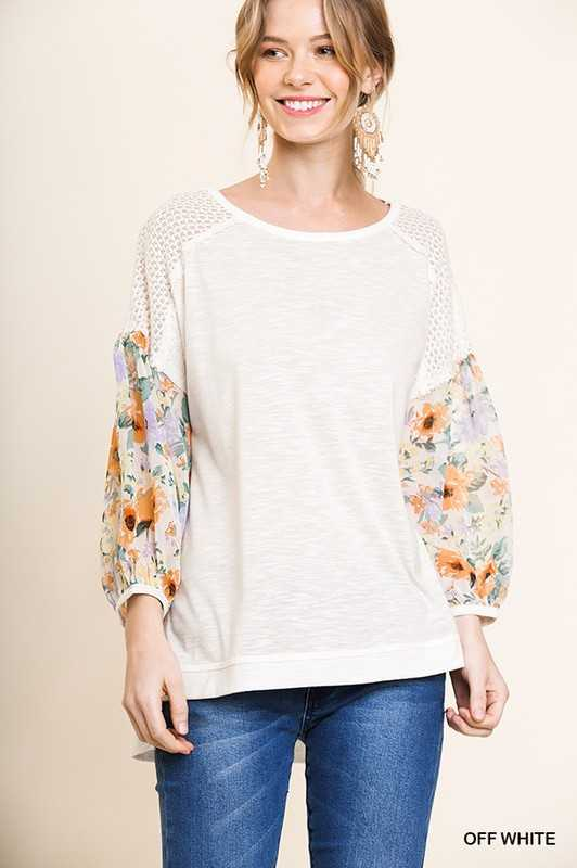 Floral Long Puff Sleeve Top