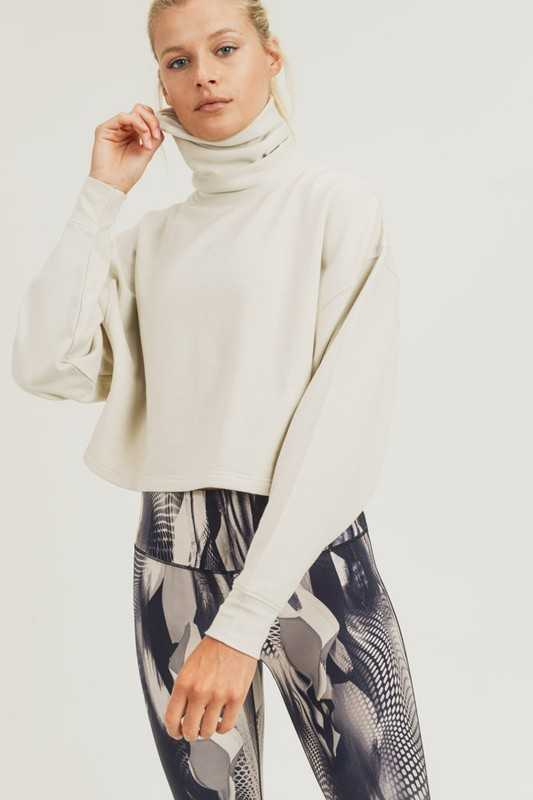Turtle Neck Boxy Cropped Fleece Pullover