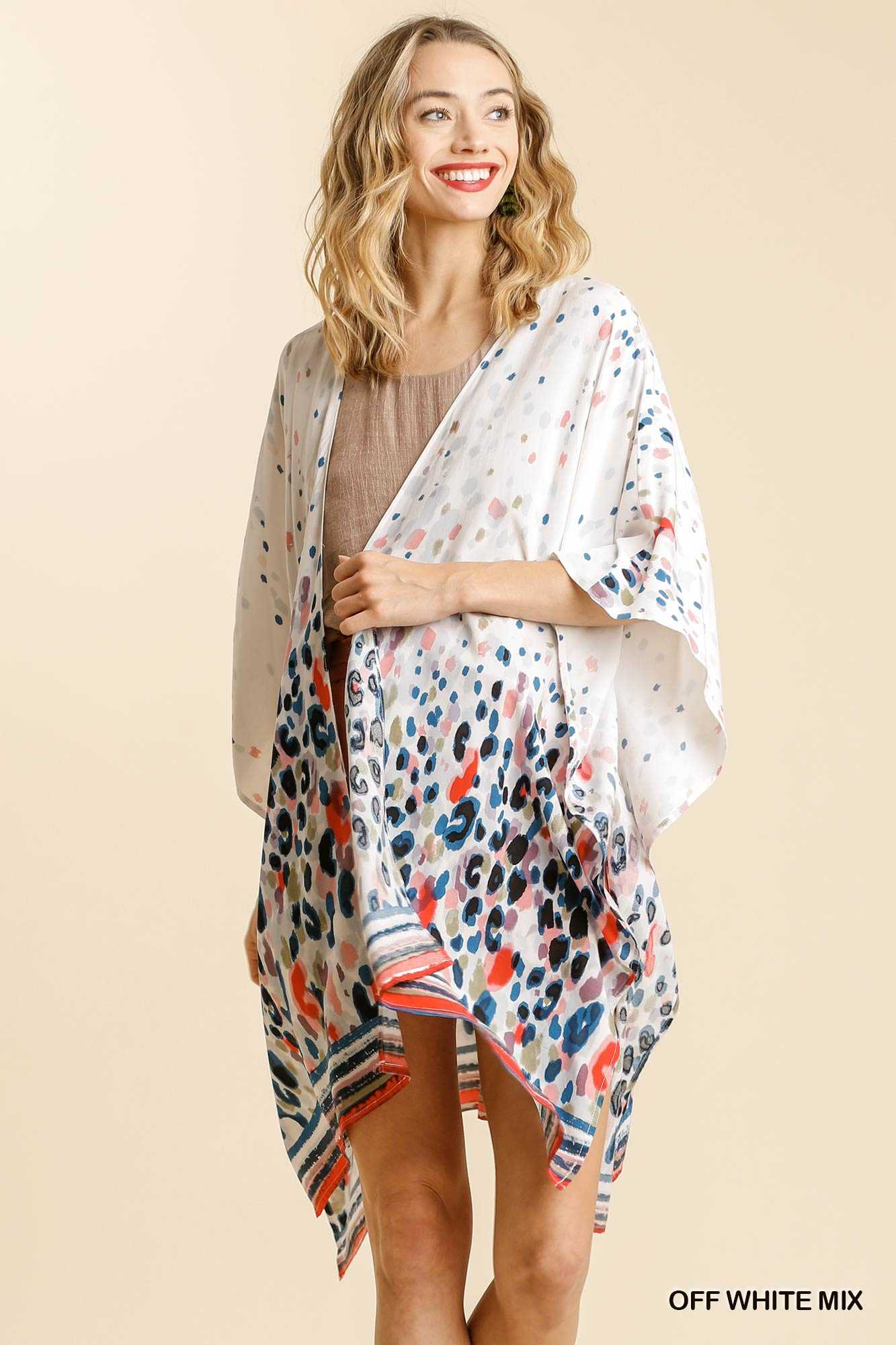 Multicolored Printed Batwing Sleeve Open Front Kimono