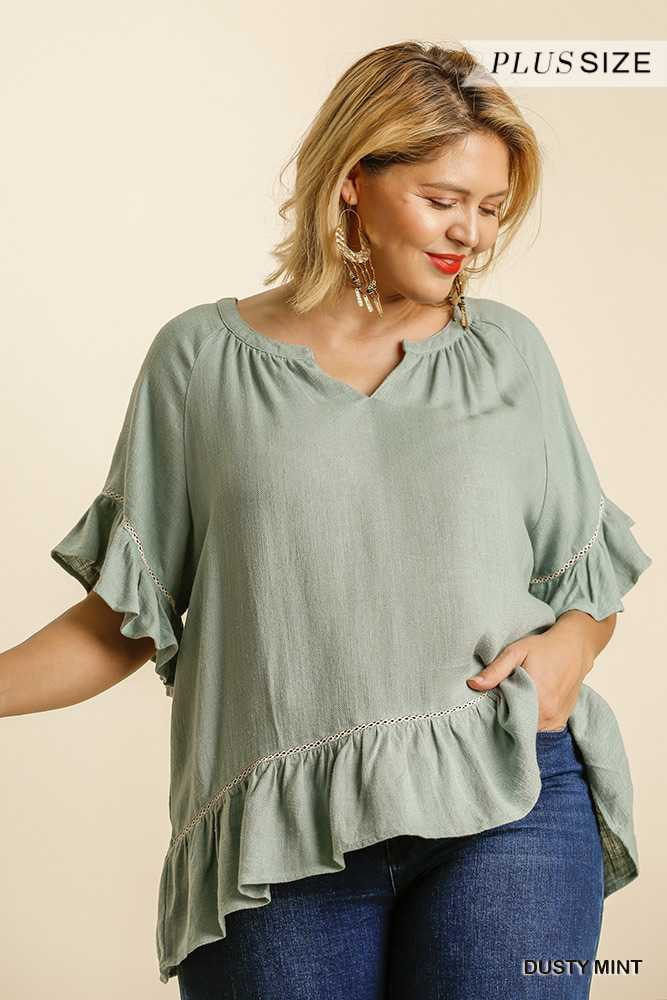 Linen Blend Split Neck Short Sleeve Peplum Top