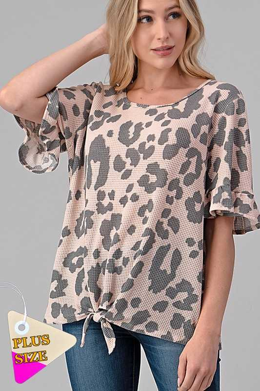 ANIMAL PRINT RUFFLE SLEEVE TIE HEM TOP PLUS