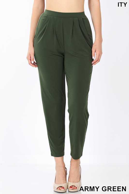 ITY PLEATED WAIST PANTS WITH SIDE POCKETS