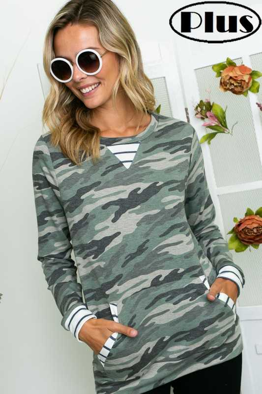 CAMOUFLAGE STRIPE MIXED FRONT POCKET PLUS TOP
