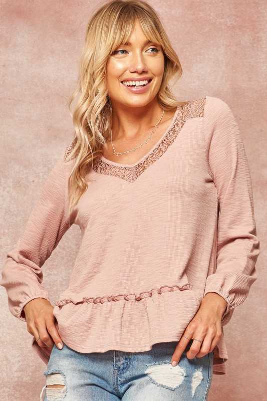 Lace-Trimmed V-Neck Ruffled Ribbed Knit Top