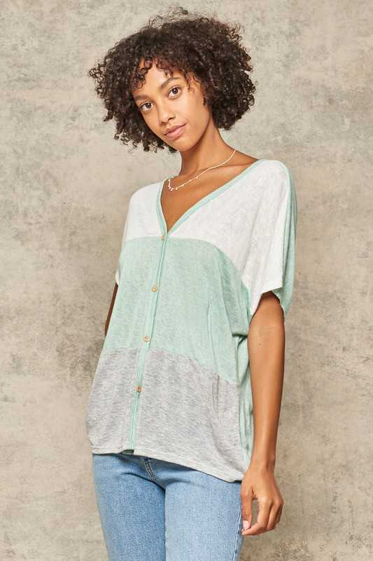 Burnout Knit Button-Down Colorblock V-Neck Top