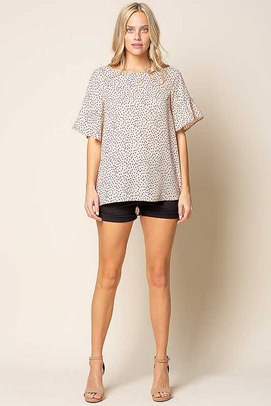 ANIMAL DOT PRINT ROUND NECK TOP