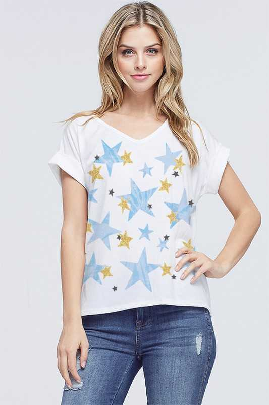 Tie dye star all over v neck short sleeve top