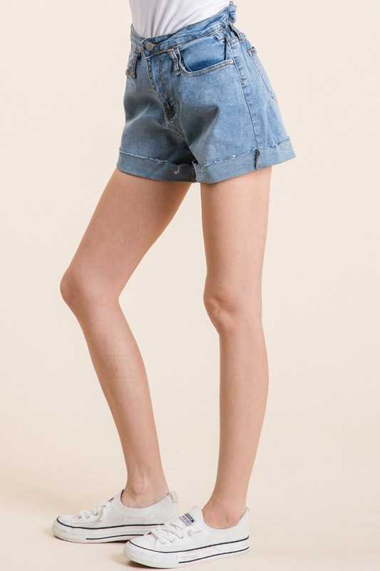 ONE BUTTON DENIM SHORTS