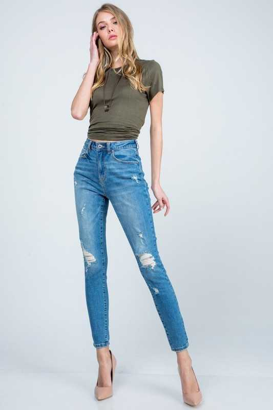 DISTRESSED HIGH RISE ANKLE SKINNY
