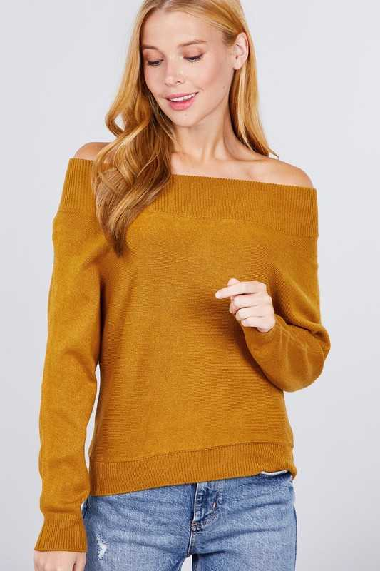 OFF SHOULDER DOLMAN SLEEVE SWEATER TOP