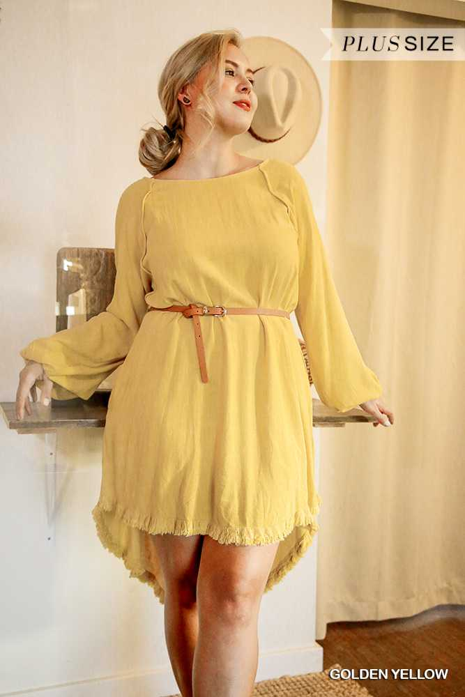 Long Puff Sleeve Round Neck Dress