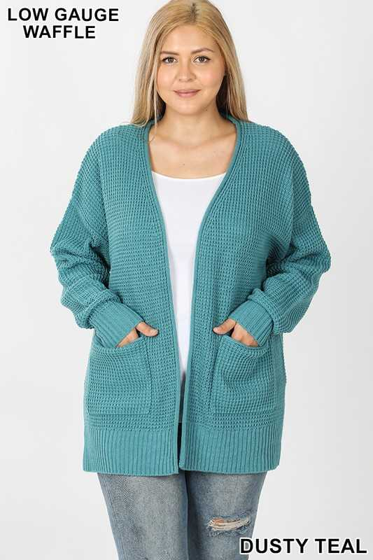 PLUS LOW GAUGE WAFFLE OPEN CARDIGAN SWEATER