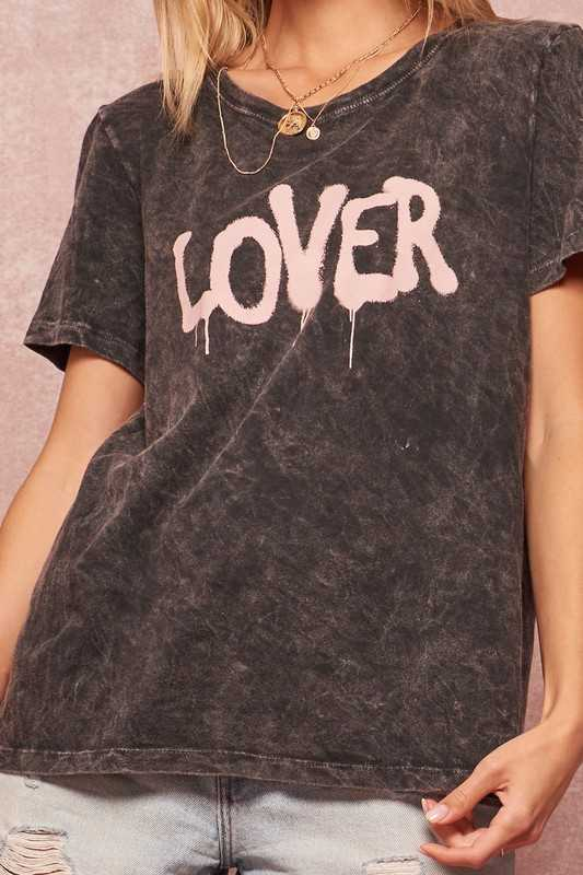 Lover Graffiti Mineral Washed Graphic Tee