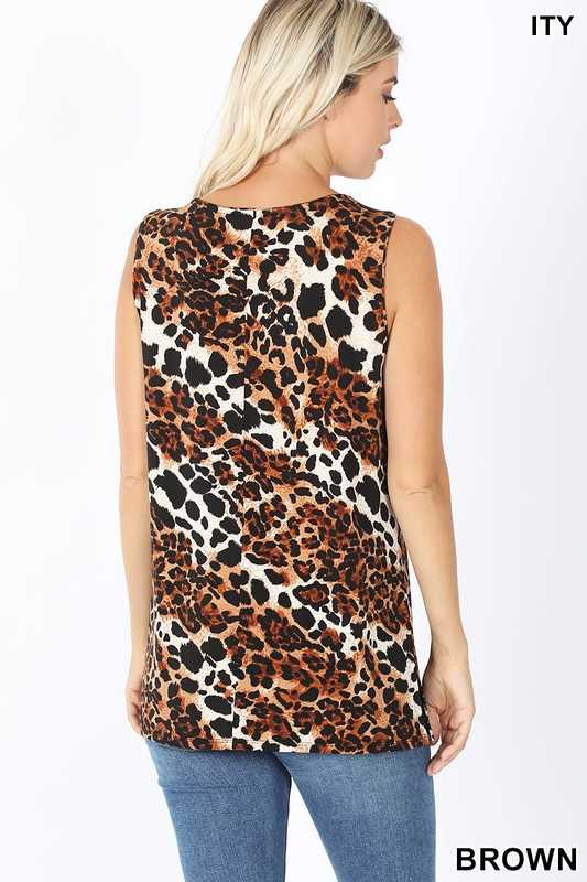 ITY LEOPARD PRINT SLEEVELESS SIDE SLIT TOP