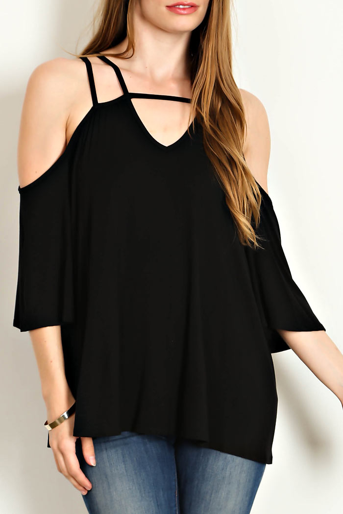 OFF SHOULDER DETAIL SOLID TOP