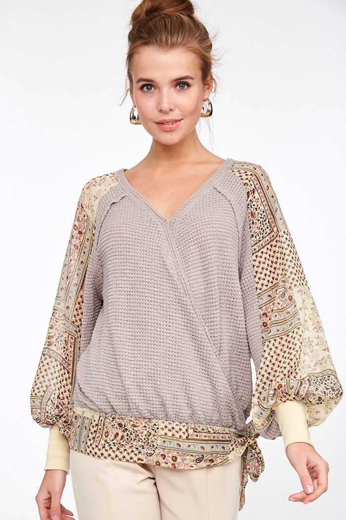 PAISLEY PRINT SLEEVE CONTRAST V NECK WRAP BLOUSE