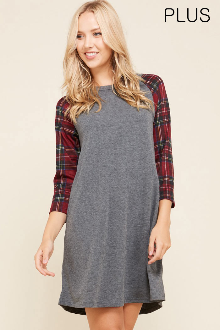 PLUS PLAID SLEEVES SOLID DRESS