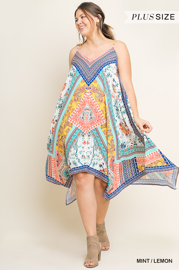 PLUS SCARF PRINT CAMI FLARING DRESS