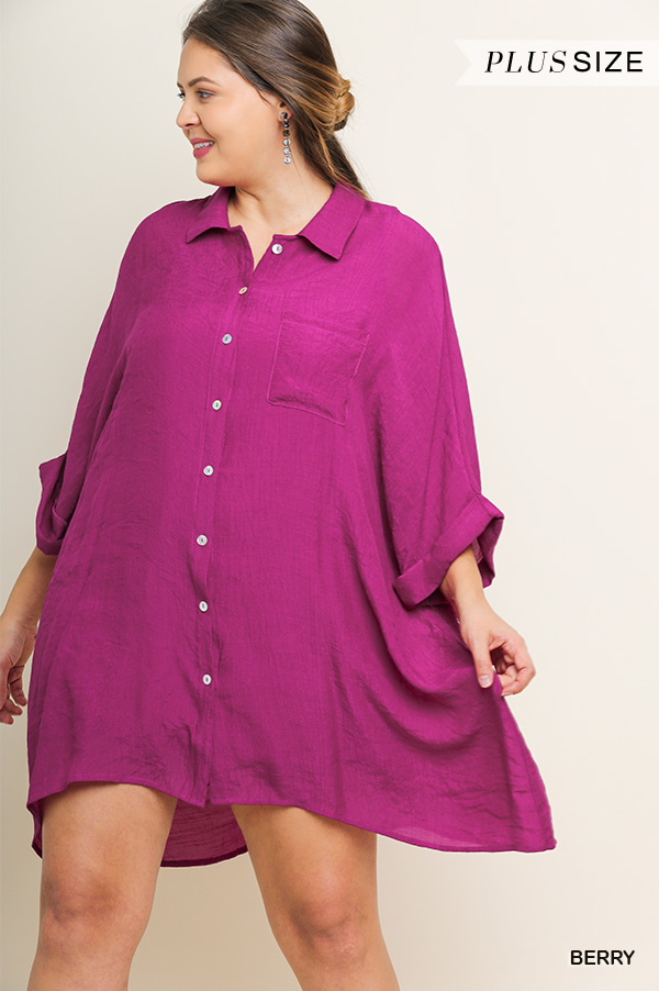 BUTTON DOWN DOLMAN SLEEVES SHIRT DRESS