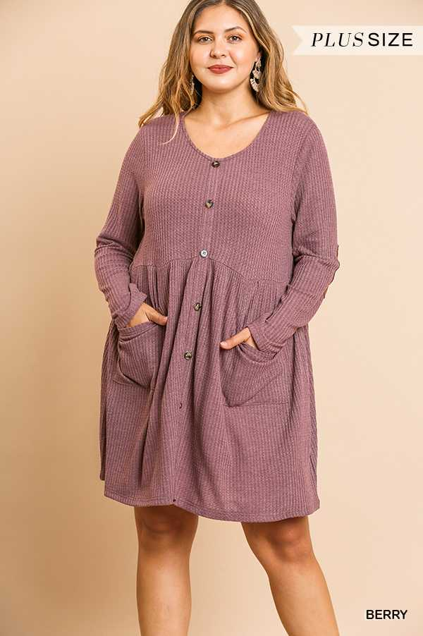 SOLID WAFFLE KNIT BUTTON FRONT BABYDOLL DRESS