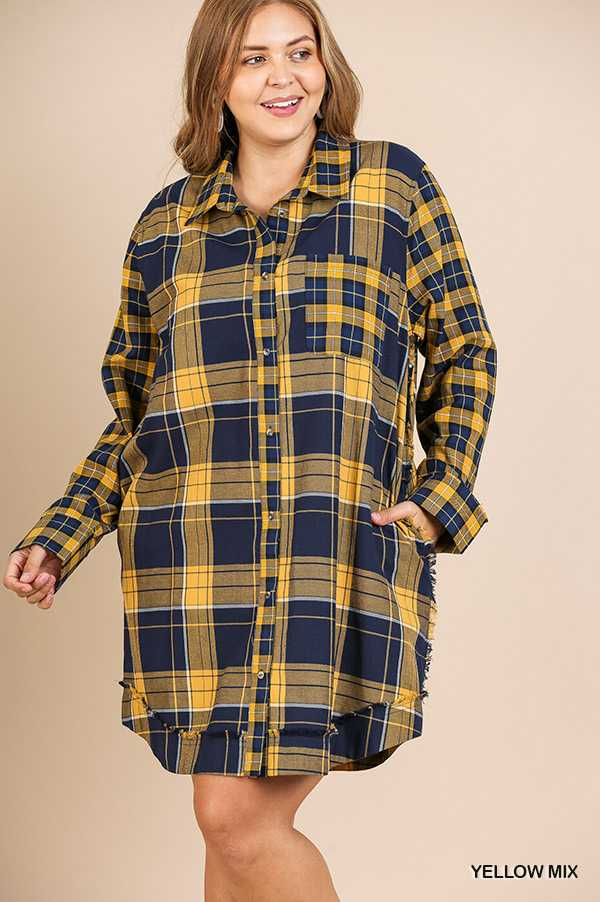 PLAID PRINT BUTTON DOWN COLLARED SHIRT DRESS