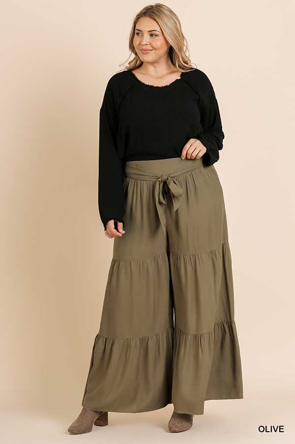 SOLID HIGH WAIST TIERED RUFFLE WIDE LEG PANTS