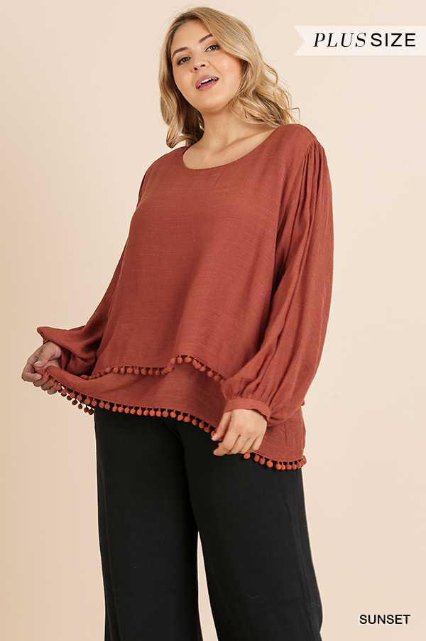SOLID LONG PUFF SLEEVE ROUND NECK TOP