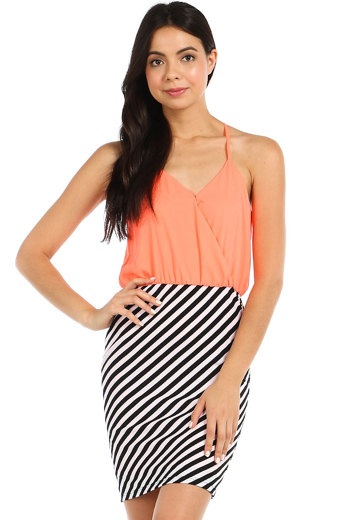 DIAGONAL STRIPED COMBO BODYCON DRESS