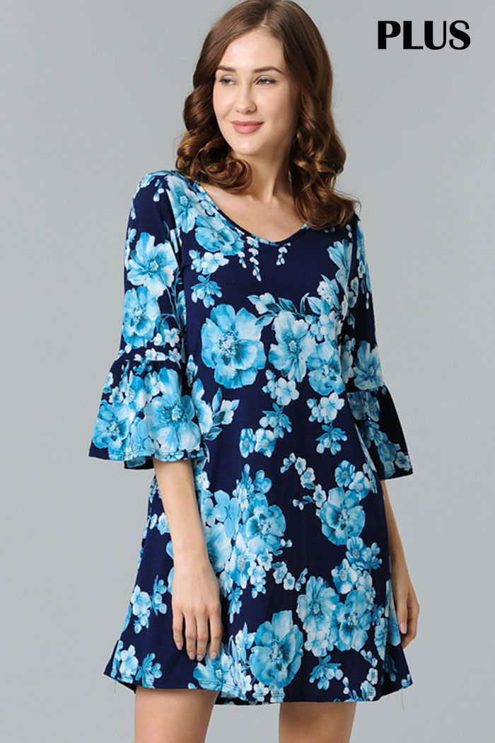 PLUS TRUMPET SLEEVES FLORAL DRESS