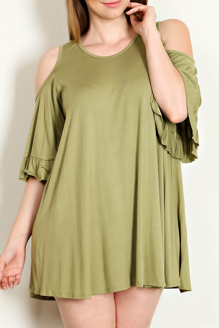 RUFFLE SLEEVES SOLID DRESS