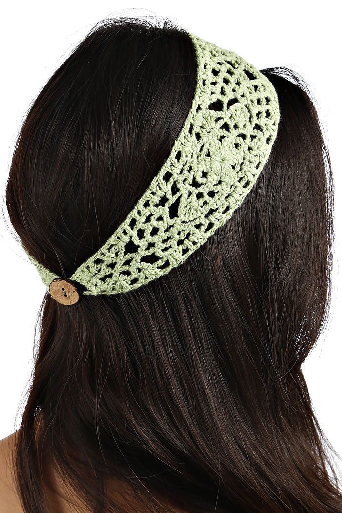 Knit Pattern Headband With Button Closure : KNITTED HEADBAND WITH BUTTON CLOSURE