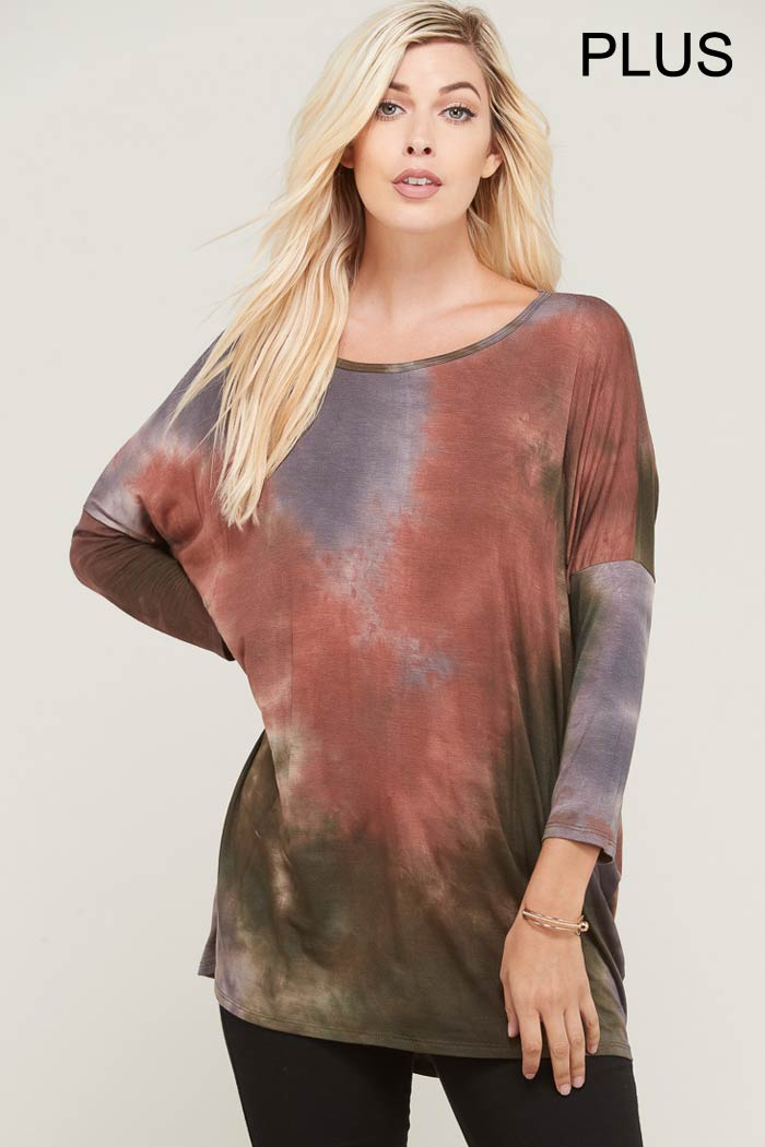 PLUS SCOOP NECK TOE DYE JERSEY TOP
