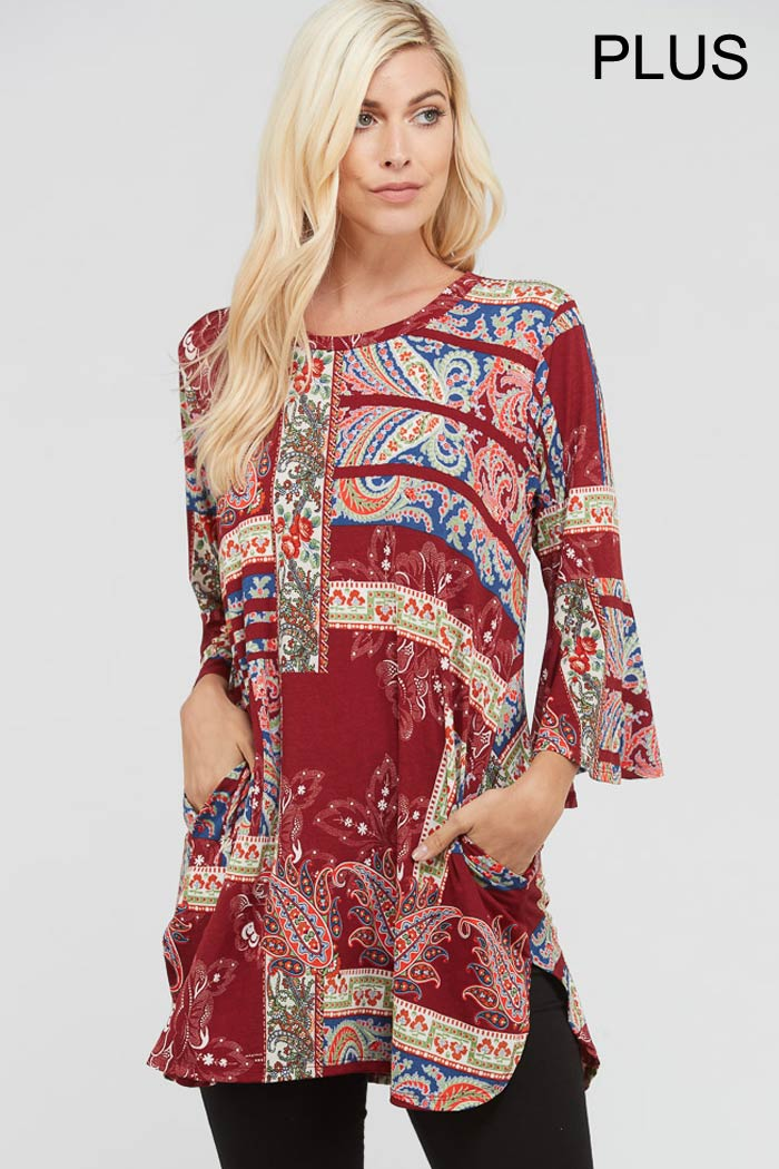 PLUS PAISLEY PIECE PRINT TRAPEZE TOP