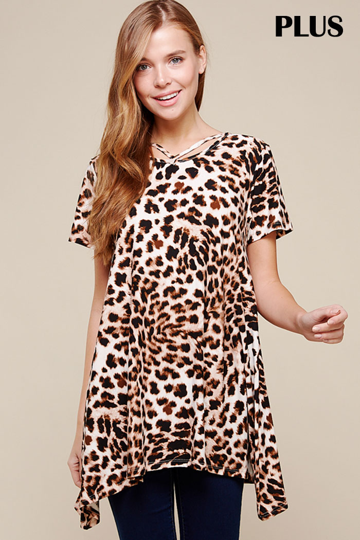 PLUS STRAPPY ACCENT LEOPARD TUNIC