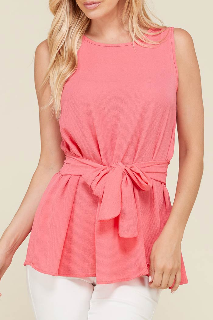 SLEEVELESS RIBBON WAIST TIE BLOUSE