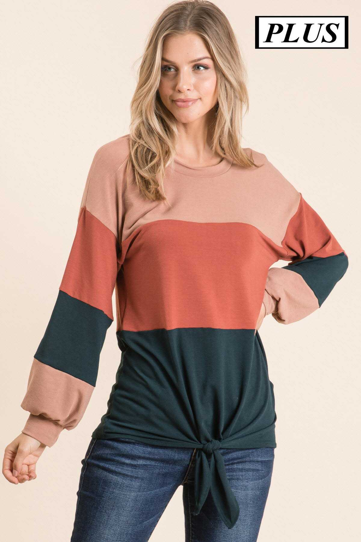 PLUS COLOR BLOCK PUFF SLEEVE ROUND NECK TOP