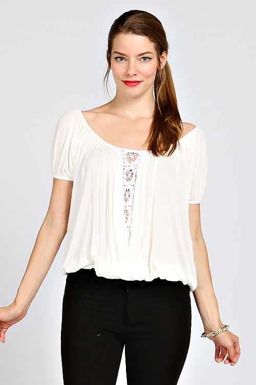 SCOOP BACK SOLID PLEATED TOP