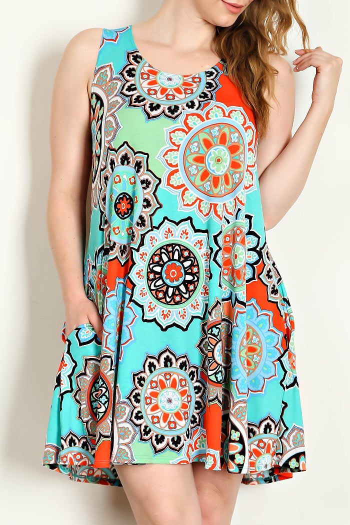 MEDALLION PRINT JERSEY KNIT DRESS