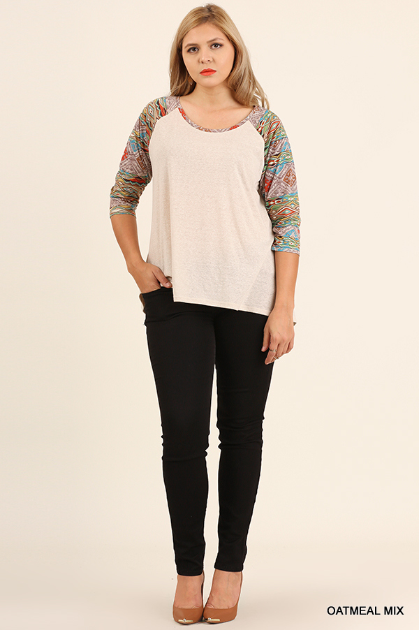HEATHER KNIT RAGLAN TOP