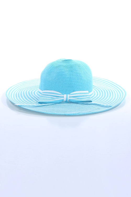 RIBBON STRIPED STRAW HAT