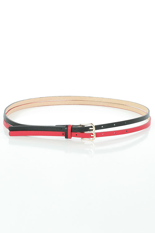 SOLID DOUBLE STRAP LEATHERETTE BELT