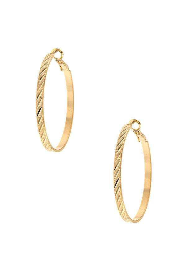 LINE ETCHED SMALL HOOP EARRING