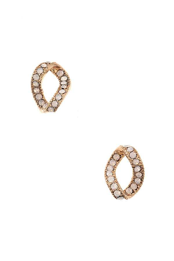 TWIST GEM PAVE POST EARRING